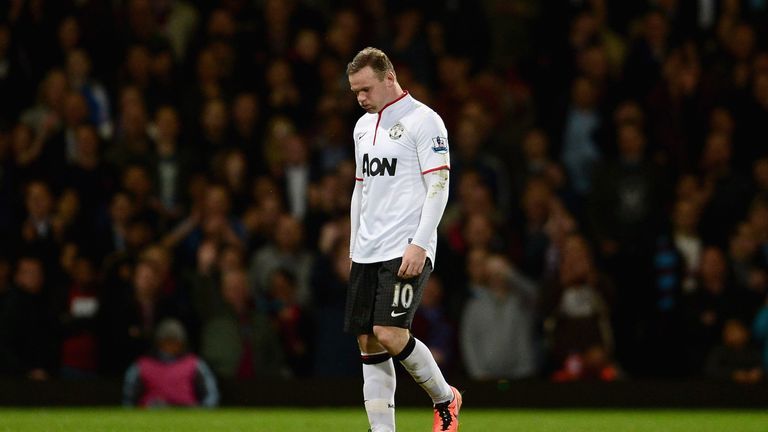 Wayne Rooney walks off the pitch after being substituted during West Ham United v Manchester United.)