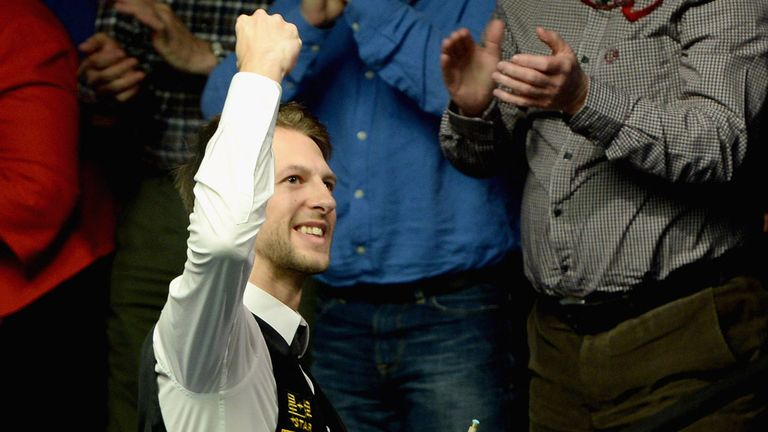 Judd Trump: Celebrates his final-frame victory over Shaun Murphy