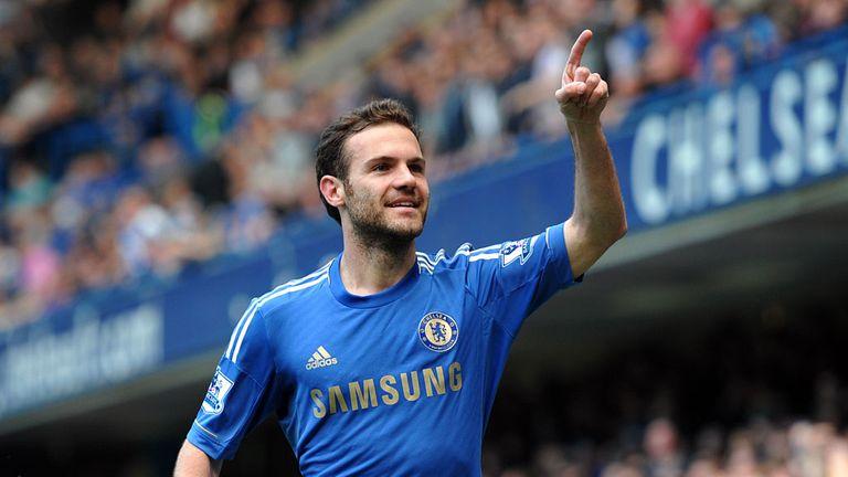 Juan Mata: Celebrating one of his 20 goals for Chelsea last season