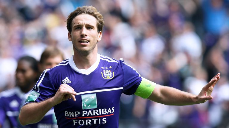 Anderlecht's Lucas Biglia celebrates after scoring the 1-1 goal during the Jupiler Pro League match of Play-Off 1, between RSC Anderlecht and Zulte Waregem, in Brussels, on May 19, 2013, on the last day of the Play-Off 1 of the Belgian football championship. AFP PHOTO/BELGA/ VIRGINIE LEFOUR   -Belgium Out-        (Photo credit should read VIRGINIE LEFOUR/AFP/Getty Images)