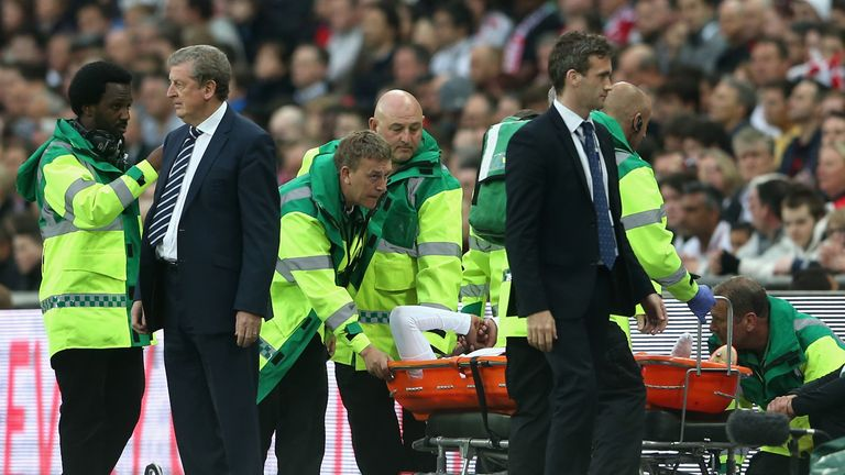 Daniel Sturridge of England is stretchered off during the friendly against the Republic of Ireland at Wembley Stadium.