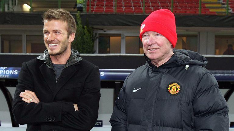 David Beckham and Sir Alex Ferguson at the San Siro