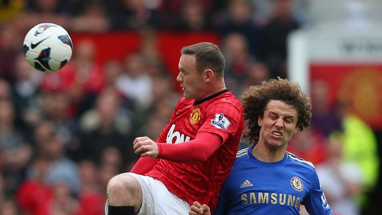 Wayne Rooney of Manchester United wins the ball from David Luiz of Chelsea during the Premier League match at Old Trafford.