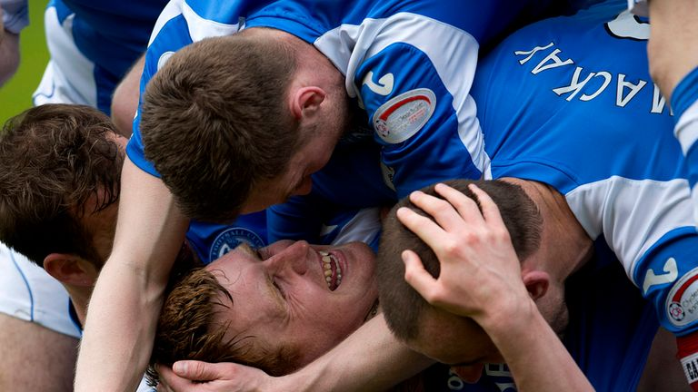 Liam Craig celebrates after his first-half strike at Tannadice