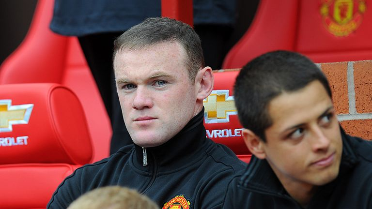 Manchester United's Wayne Rooney on the bench