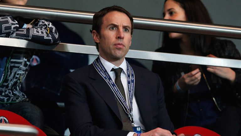 PARIS, FRANCE - MARCH 06:  Gareth Southgate looks on prior to the Round of 16 UEFA Champions League match between Paris St Germain and Valencia CF at Parc des Princes on March 6, 2013 in Paris, France.  (Photo by Dean Mouhtaropoulos/Getty Images)