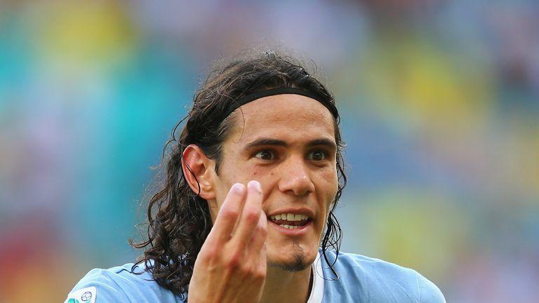 Edinson Cavani of Uruguay reacts during the FIFA Confederations Cup Brazil 2013 3rd Place match between Uruguay and Italy at Estadio Octavio Mangabeira