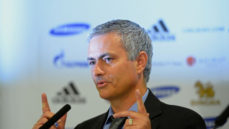 Chelsea football club's new manager Jose Mourinho addresses a press conference at Stamford Bridge.