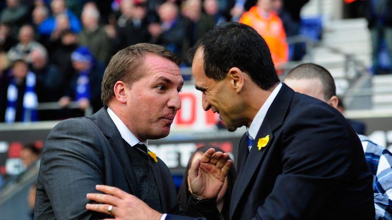 Brendan Rodgers (L) greets Roberto Martinez 2012