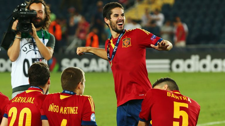 Isco of Spain dances after winning the UEFA European U21 Championship final match against Italy at Teddy Stadium on June 18, 2013 in Jerusalem, Israel.