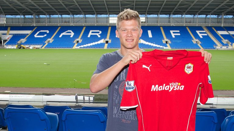 Andreas Cornelius joins Cardiff: Photo courtesy of Pete Thomas/Cardiff City FC
