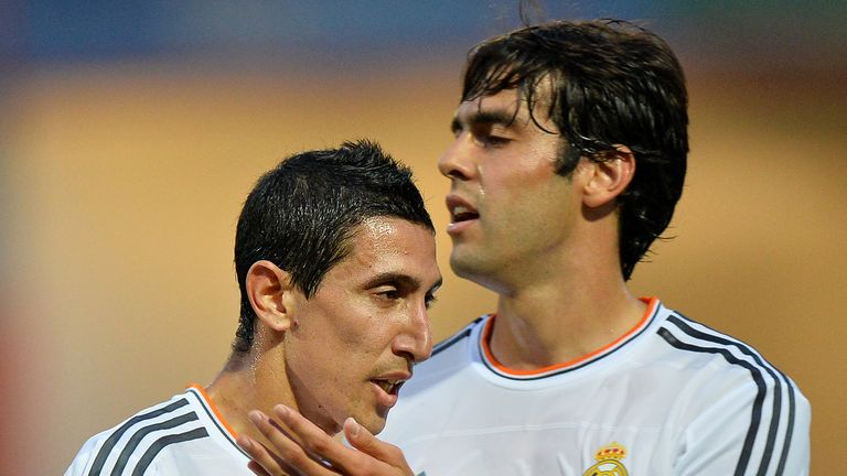 Real Madrid's Angel Di Maria celebrates with Real Madrid's Kaka after scoring a goal during the pre-season friendly.