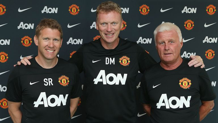 David Moyes: New Manchester United boss with assistant manager Steve Round (left) and coach Jimmy Lumsden (right)