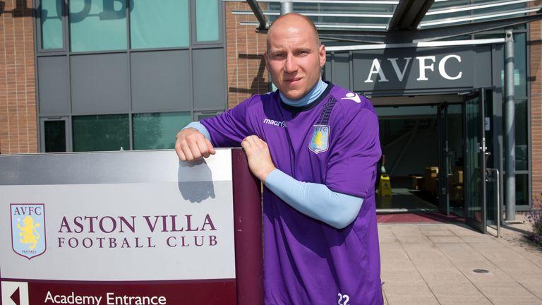 BIRMINGHAM, ENGLAND - JULY 6:  Brad Guzan of Aston Villa signs a new contract at the club's training ground at Bodymoor Heath on July 6, 2013 in Birmingham, England. (Photo by Neville Williams/Aston Villa FC via Getty Images)