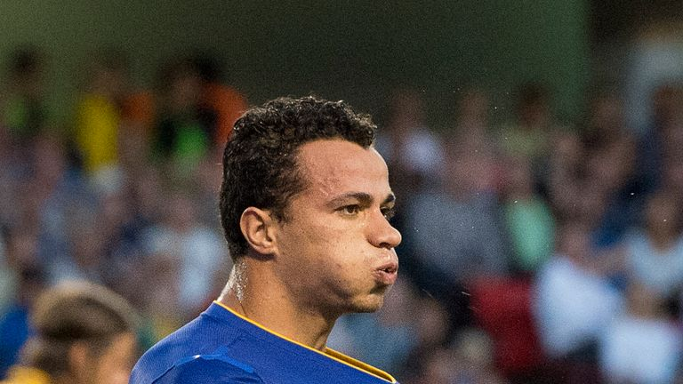 Leandro Damiao scores for Brazil against Sweden on August 15, 2012. Brazil won 3-0.