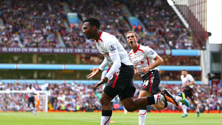 Daniel Sturridge of Liverpool celebrates after scoring the opening goal during the Barclays Premier League match between Aston Villa and Liverpool at Villa Park on August 24, 2013 in Birmingham, England.