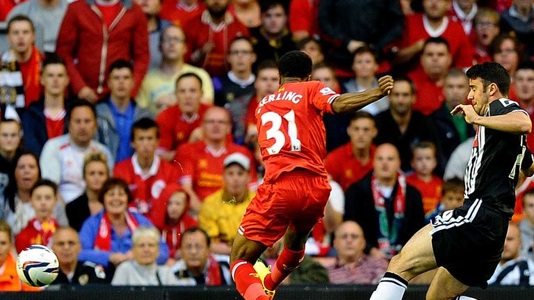 Raheem Sterling: The youngster fires home the opening goal for Liverpool against Notts County