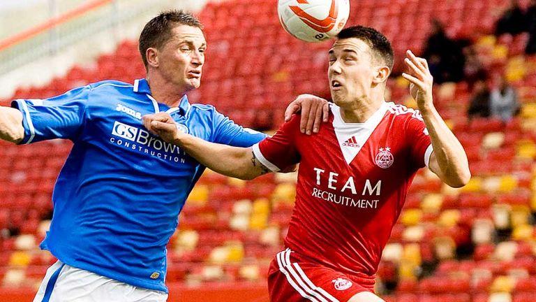 Gary McDonald St Johnstone man challenges Ross Jack of Aberdeen
