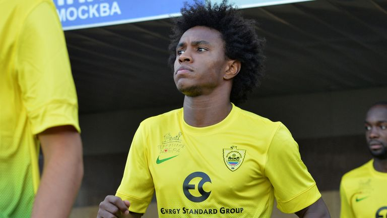 KHIMKI, RUSSIA - JULY 19: Willian of FC Anzhi Makhachkala walks onto the field during the Russian Premier League match between FC Dinamo Moscow and FC Anzhi Makhachkala at the Arena Khimki Stadium on July 19, 2013 in Khimki, Russia.  (Photo by Epsilon/Getty Images)