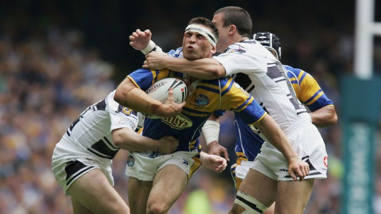 Kevin Sinfield is unable to get through a a determined Hull FC defence during the 2005 final, the last time Hull won the trophy