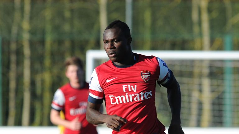 Emmanuel Frimpong of Arsenal during the Barclays Premier U21 match between Arsenal U21 and West Bromwich Albion U21 at London Colney