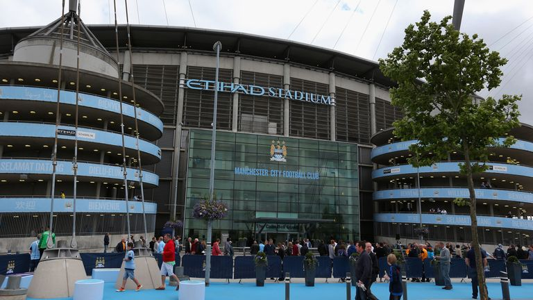 A general view of the Etihad Stadium is seen prior to the Barclays Premier League match between Manchester City and Hull City at the Etihad Stadium
