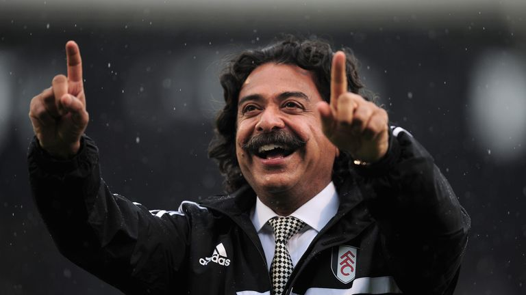 New Fulham Chairman Shahid Khan is greeted by fans ahead of the Barclays Premier League match between Fulham and Arsenal at Craven Cottage