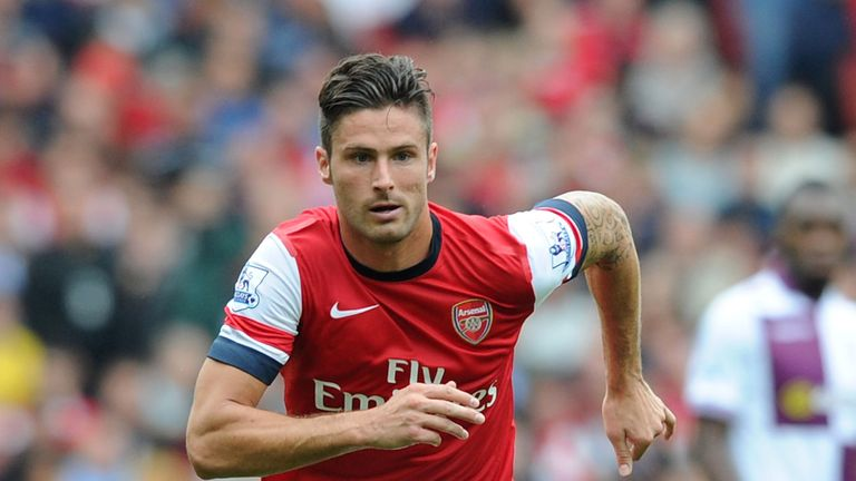 Olivier Giroud of Arsenal during the Barclays Premier League match between Arsenal and Aston Villa at Emirates Stadium