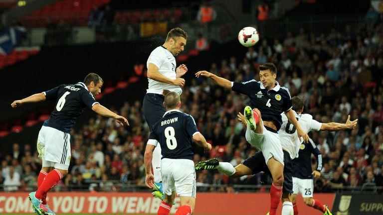 Rickie Lambert scores a debut goal against Scotland