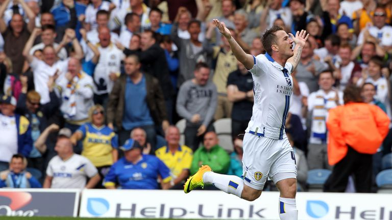 Leeds United's Ross McCormack celebrates his equaliser during the Sky Bet Championship match between Leeds United and Sheffield Wednesday at Elland Road