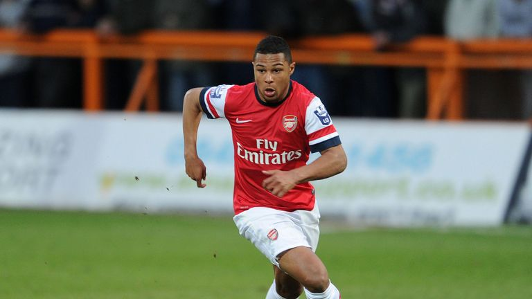 Serge Gnabry of Arsenal during the Barclays Premier U21 match between Arsenal U21 and Tottenham Hotspur U21 at Underhill Stadium