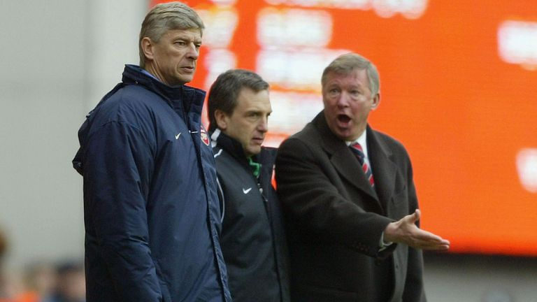 Ferguson vents his frustrations at Wenger at Highbury in March 2004