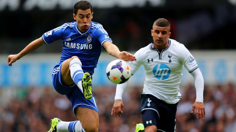 Eden Hazard: On ball for Chelsea as Tottenham's Kyle Walker watches on