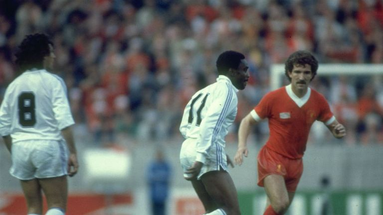 Liverpool midfielder Graeme Souness (right) in action against Real in Paris