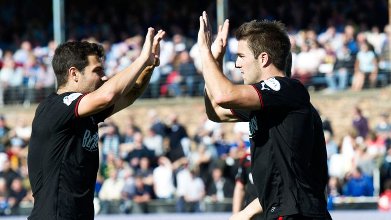 Andrew Little (right) celebrates his goal with Richard Foster