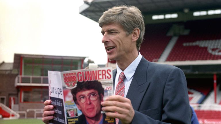 Arsene Wenger pictured at Highbury Stadium on his arrival at Arsenal in 1996