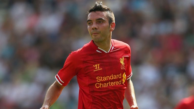 Iago Aspas of Liverpool in action against Stoke City