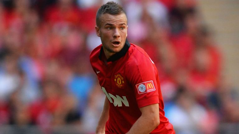 Tom Cleverley of Manchester United in action against Wigan Athletic in the Community Shield