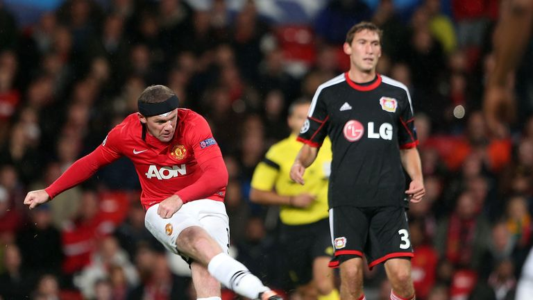 Wayne Rooney in action for Manchester United against Bayer Leverkusen on September 17, 2013 in Manchester, England.