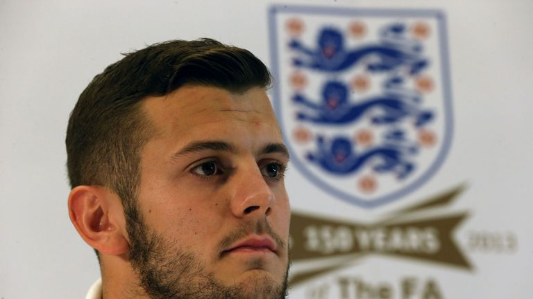 England's Jack Wilshere speaks during a press conference at St George's Park, Burton.