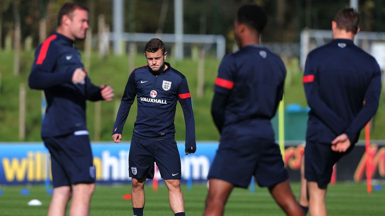 England's Jack Wilshere during a warm up session before training at St George's Park, Burton.