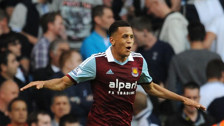 West Ham United's Ravel Morrison celebrates after scoring his sides third goal of the game against Tottenham Hotspur. during the Barclays Premier League match at White Hart Lane, London.