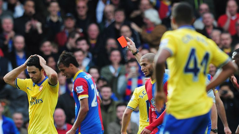 Arteta's afternoon soon took a turn for the worst when he was shown a red card for hauling down Chamakh