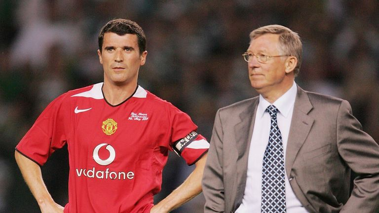 Roy Keane speaks to Sir Alex Ferguson of Manchester United after his testimonial match between Manchester United and Glasgow Celtic at Old Trafford on May 9 2006 in Manchester, England.