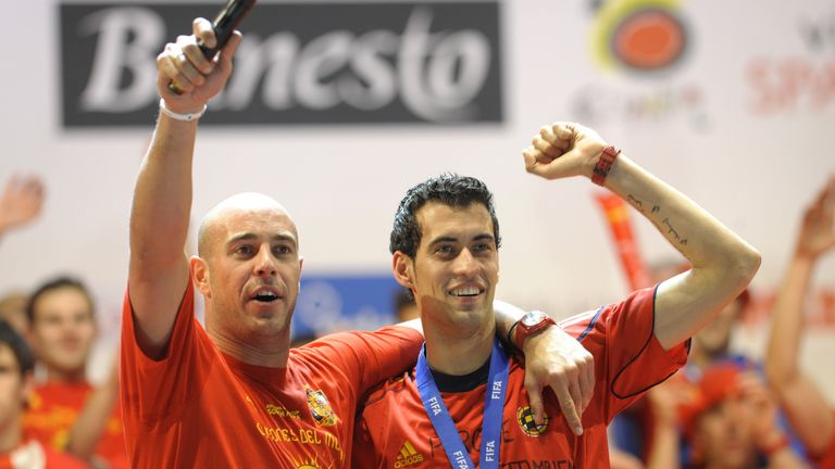 Pepe Reina (left) and Sergio Busquets: Spain duo could link up at Barcelona next season