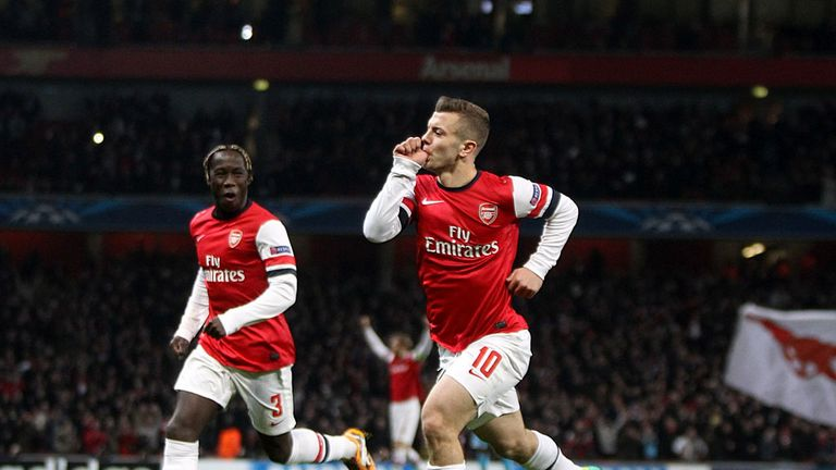 Jack Wilshere: Celebrates his first Arsenal goal on Tuesday