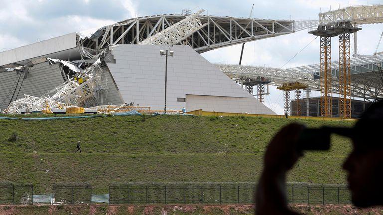 Arena de Sao Paulo -- Itaquerao do Corinthians -- stadium, still under construction, after a crane fell across part of the metallic structure, on November 27, 2013 in Sao Paulo.