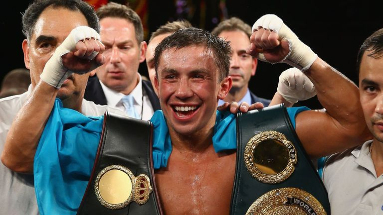 Gennady Golovkin celebrates after defending his WBA and IBO titles