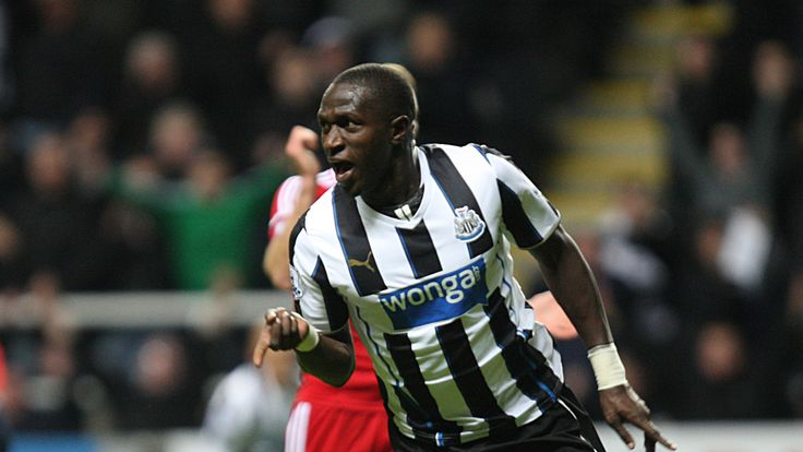 NEWCASTLE, ENGLAND - NOVEMBER 30: Moussa Sissoko of Newcastle celebrates after scoring their second goal during the Barclays Premier League match between Newcastle United and West Bromwich Albion at St.James' Park on November 30, 2013, in Newcastle upon Tyne England. (Photo by Serena Taylor/Newcastle United via Getty Images)