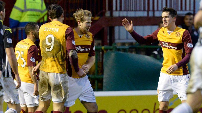 Henri Anier celebrates his first goal for Motherwell against St Mirren
